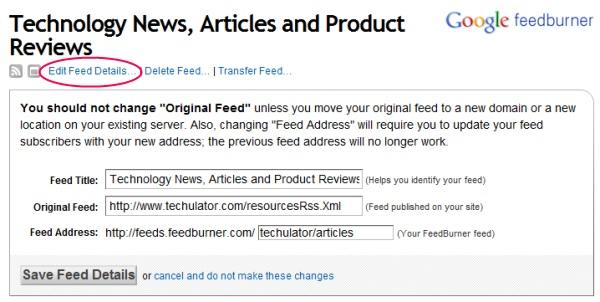 Feedburner - Change feed URLaddress