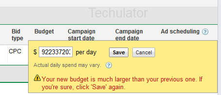 AdWords Budget Warning
