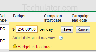 Maximum AdWords Budget