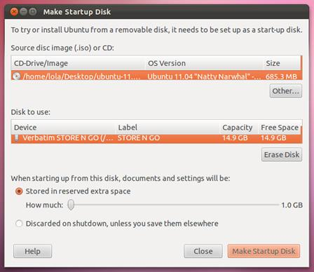Select USB in Startup Disk Creator