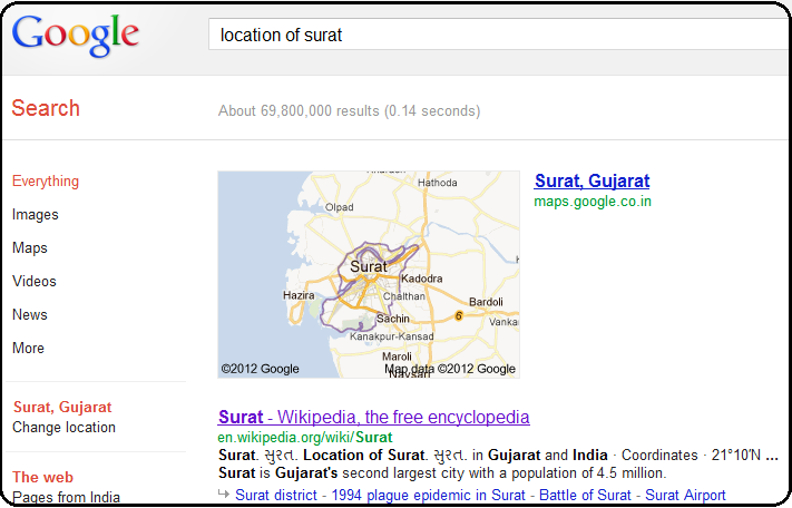 Google Search features - Location of surat city