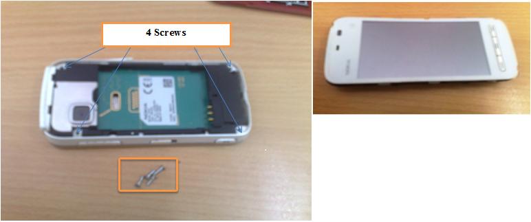 Removing screws in Nokia 5233