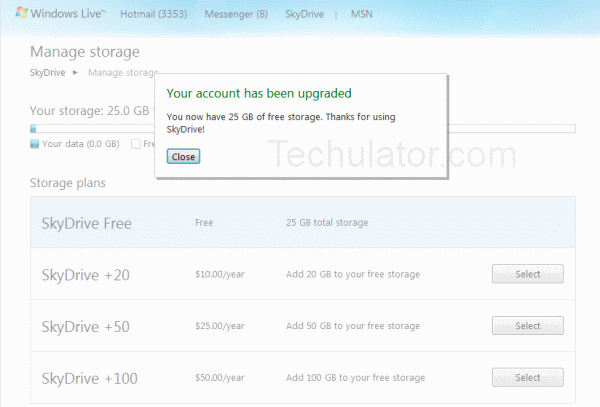 SkyDrive free upgrade to 25GB