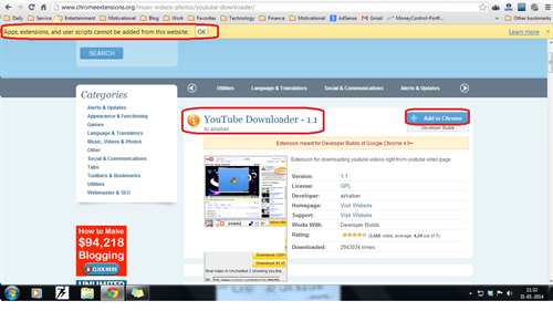 Getting error in installing YouTube video downloader extension in Google Chrome