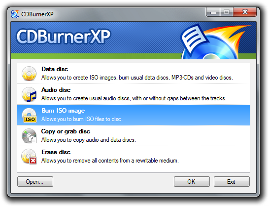 CDBurnerXP Main Screen