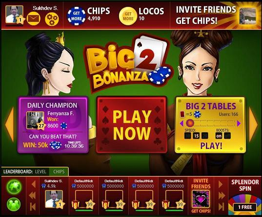 BIG2 BONANZA FACEBOOK GAME SCREEN LAYOUT