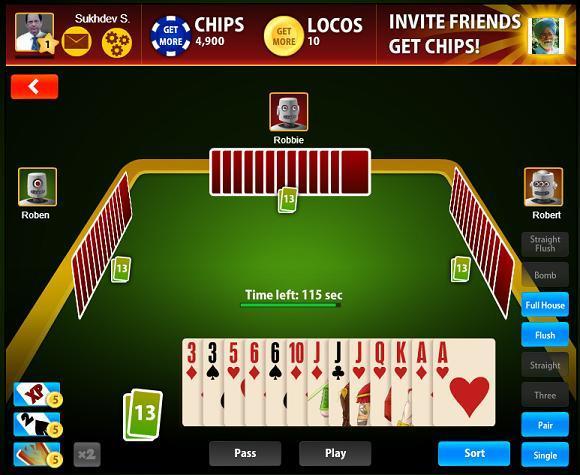 BIG2 BONANZA FACEBOOK GAME PRACTICE TABLE