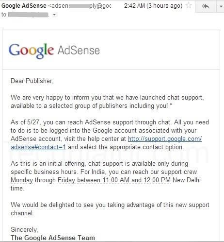 AdSense Chat Support