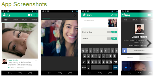 screenshots of vine for Adroid