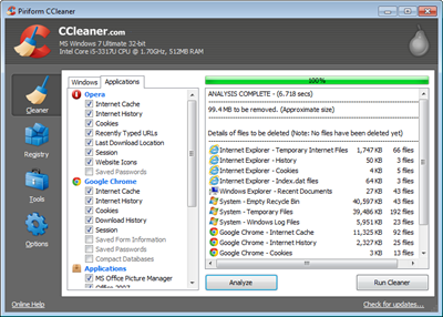 CCleaner Cleaning process
