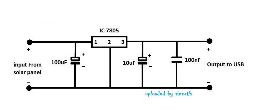 Make your own solar mobile charger circuit diagram 5v voltage regulator ccuart