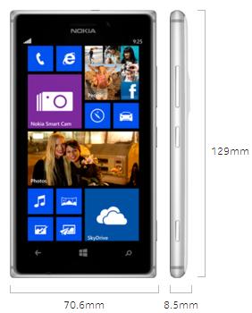 Dimensions of Lumia 925