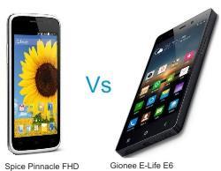 Spice Pinnacle FHD Vs E-Life E6 mobiles