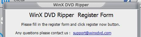 Register form for WinX DVD ripper