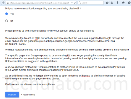 AdSense Policy Violation Appeal