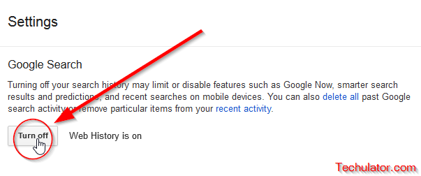How to disable or turn off ones Google Search History