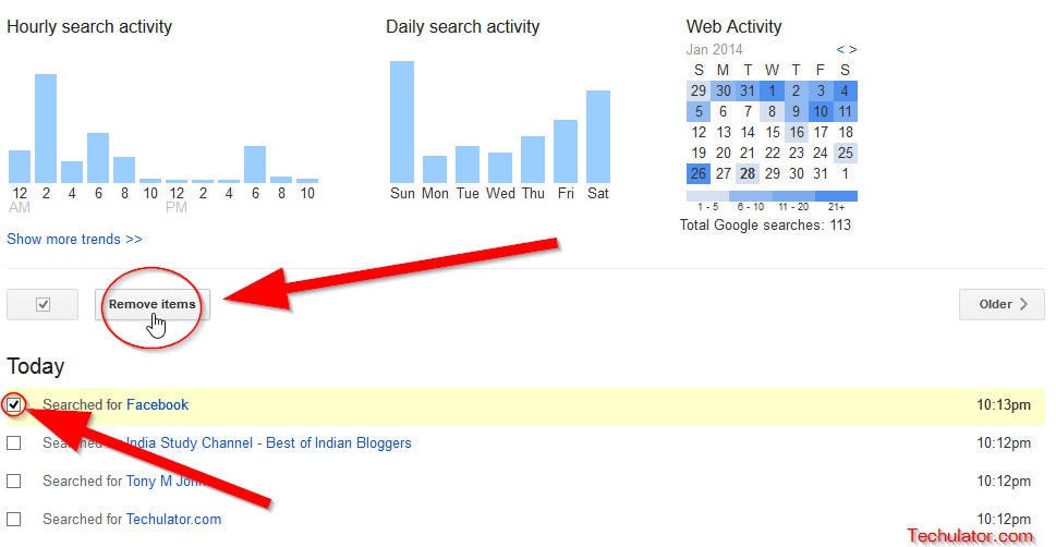 how to clear your web history on google