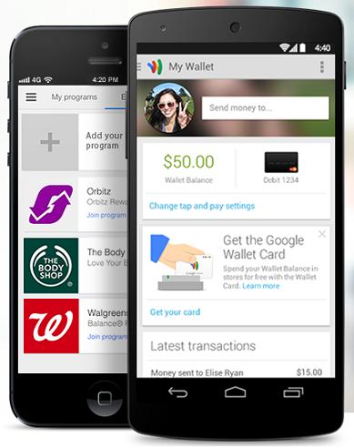 Google Wallet app on Android smartphone screenshot