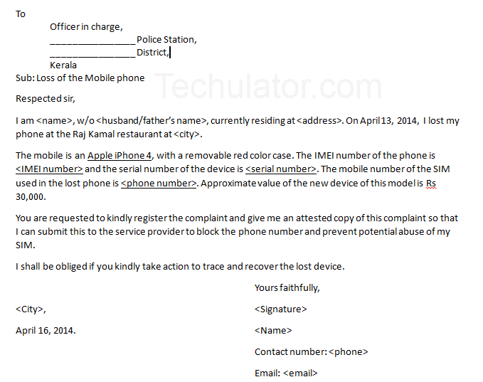 Sample letter to police to report lost or stolen mobile phone sample police complaint letter format for registering lost mobile phone expocarfo Images