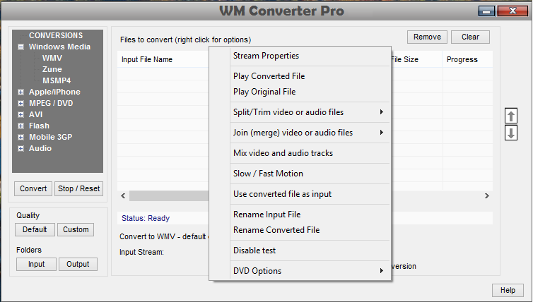 Right click featutures in WM converter