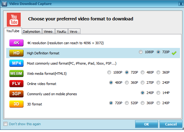 Formats in Apowersoft video download capture