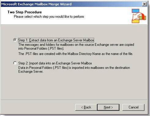 Click on Extract data  from an Exchange mailbox