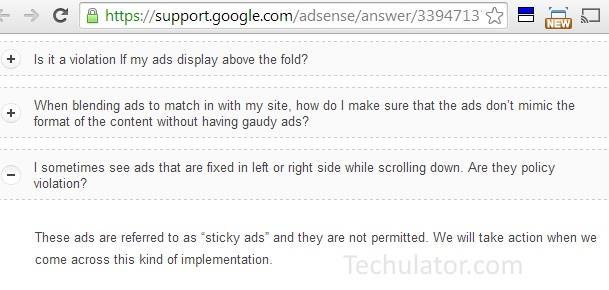 AdSense on fixed layers that do not scroll