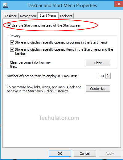 Switch to Start Menu
