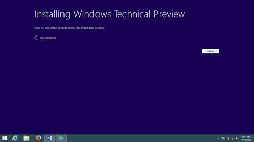 Installing Windows 10 on a Windows 8.1 PC screenshot