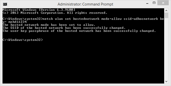 Setting up adhoc network in Windows 10 using command prompt steps