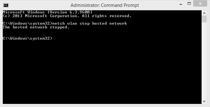 Stop adhoc network in Windows 10 using command prompt steps