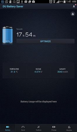 Intuitive Battery screen of the DU Battery Saver app
