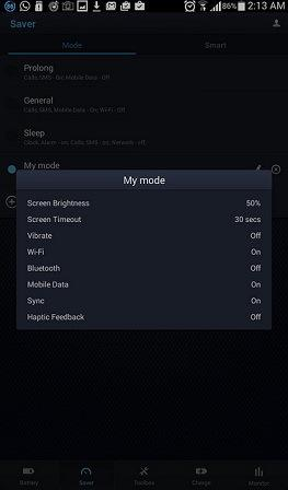 Default My Mode setting on the DU Battery saver