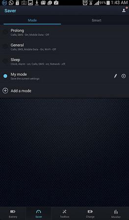 Prolong, General and Sleep Modes on DU Battery Saver