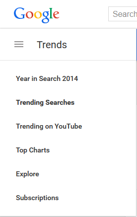 Googletrends and trending searches bar