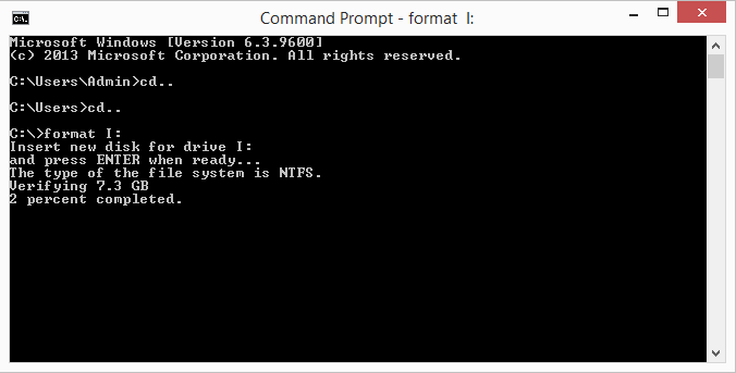 percentage completion of formatting process in command prompt