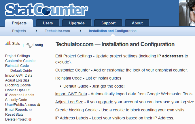 statcounter configure the account menu snapshot