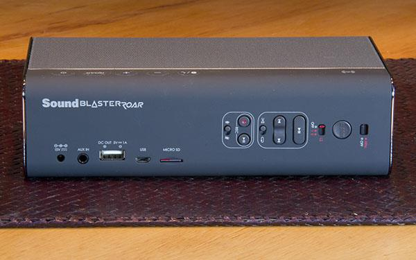 The rear of the Sound Blaster with the ports and SD slots