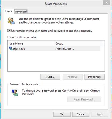 Windows 10 User Accounts Settings