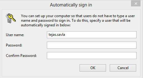 Windows 10 Automatically sign in box