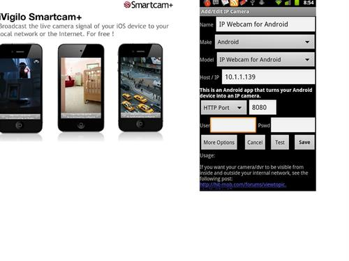 IP Webcam and iVigilo Smartcam