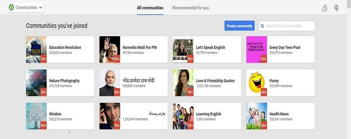 google plus communities screen shot