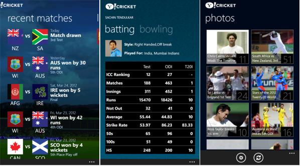 yahoo cricket app screenshots