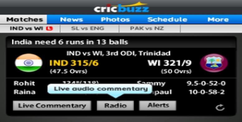 cricbuzz live cricket score app screen shot