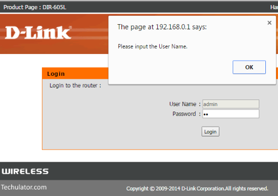 DLink wireless router username