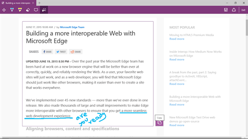 Annotating Web Pages on Edge
