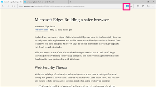 The reading view on Microsoft Edge