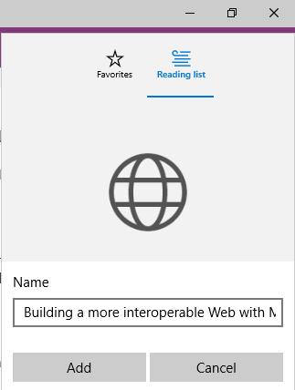 Creating reading list on Microsoft