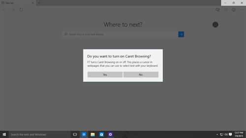 Caret browsing feature on Microsoft Edge