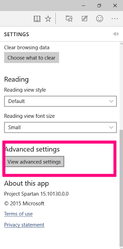 Advanced setting for caret on Microsoft Efge